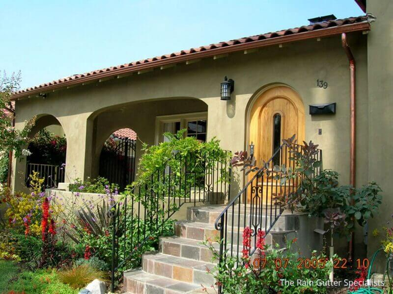 Copper rain gutters in Woodland Hills image 15b