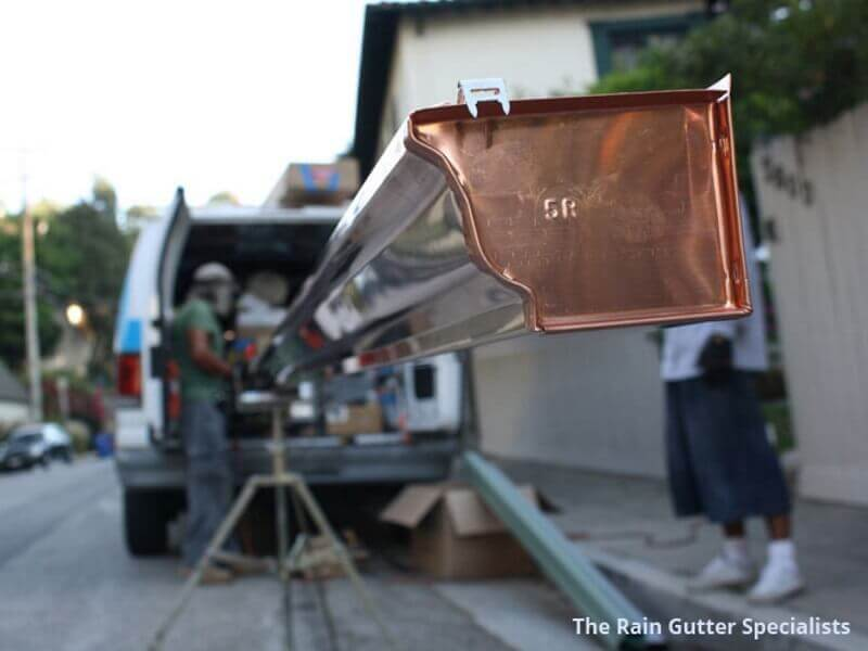 Copper rain gutters in Silver Lake image 19