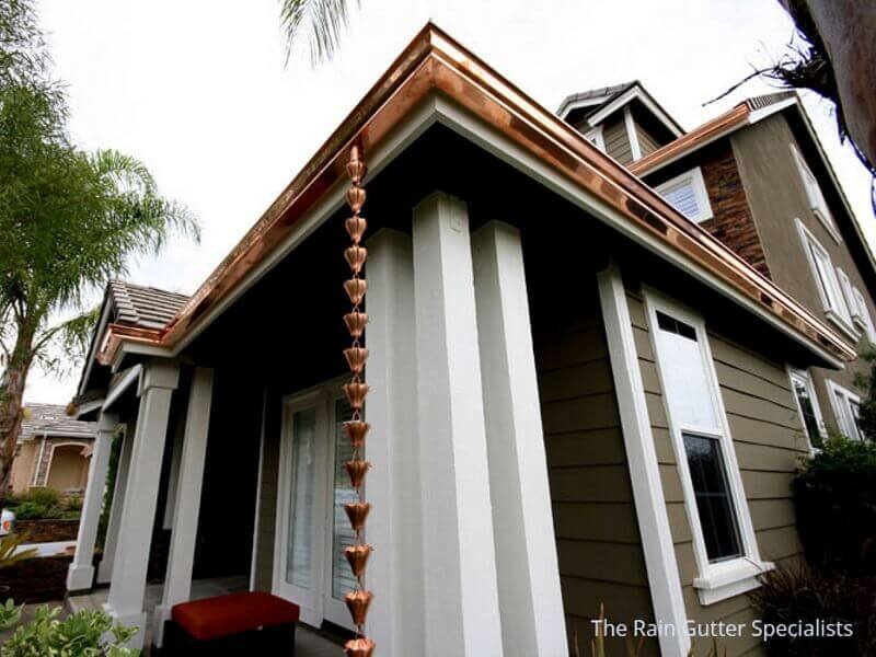 Copper rain gutters in Studio City image 3