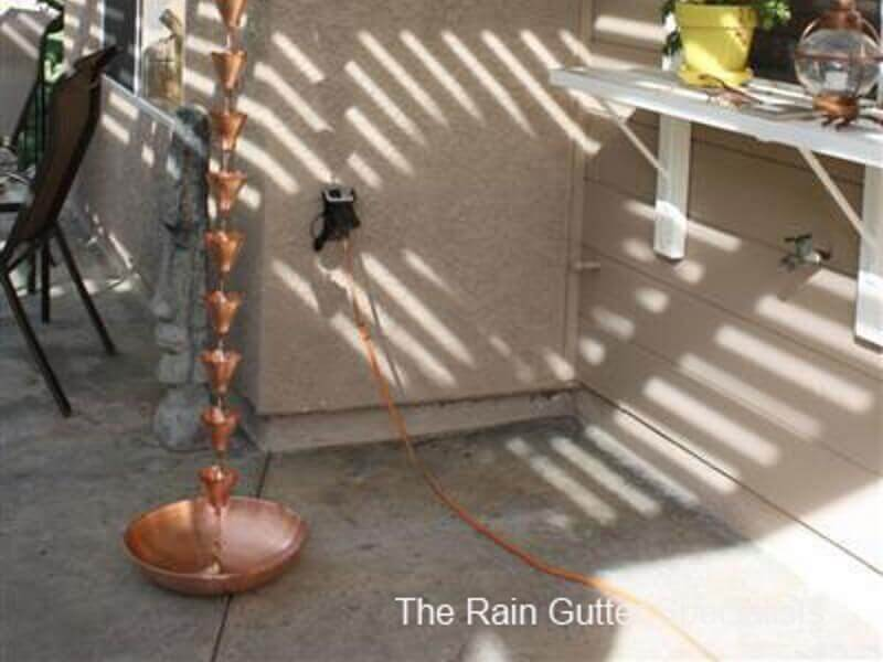 Copper Rain Chain and Bowl Marina Del Rey Image 3