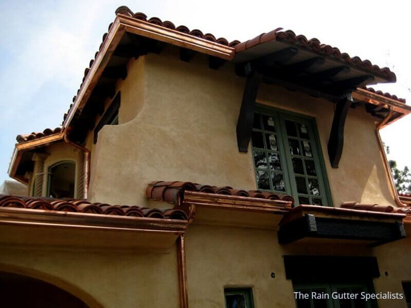 Copper rain gutters in Pasadena 6a